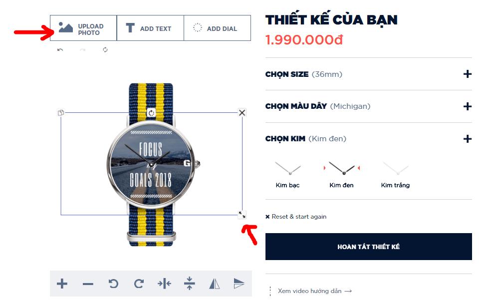 đồng hồ tự thiết kế Dyoss - Upload hình nền