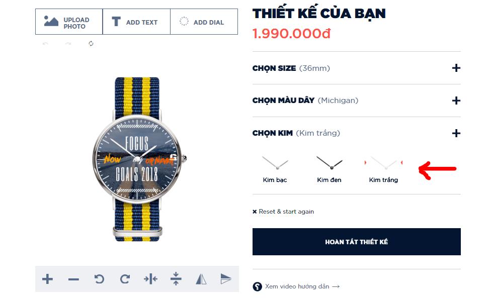 đồng hồ tự thiết kế Dyoss- Chọn kim
