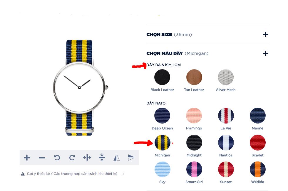 đồng hồ tự thiết kế dyoss - chon dây đeo