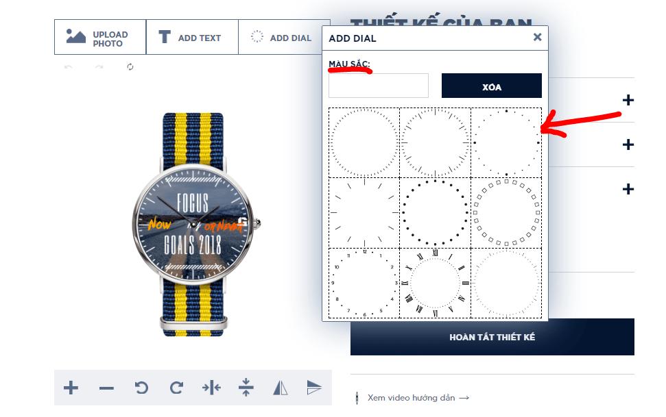 đồng hồ tự thiết kế dyoss - chọn số