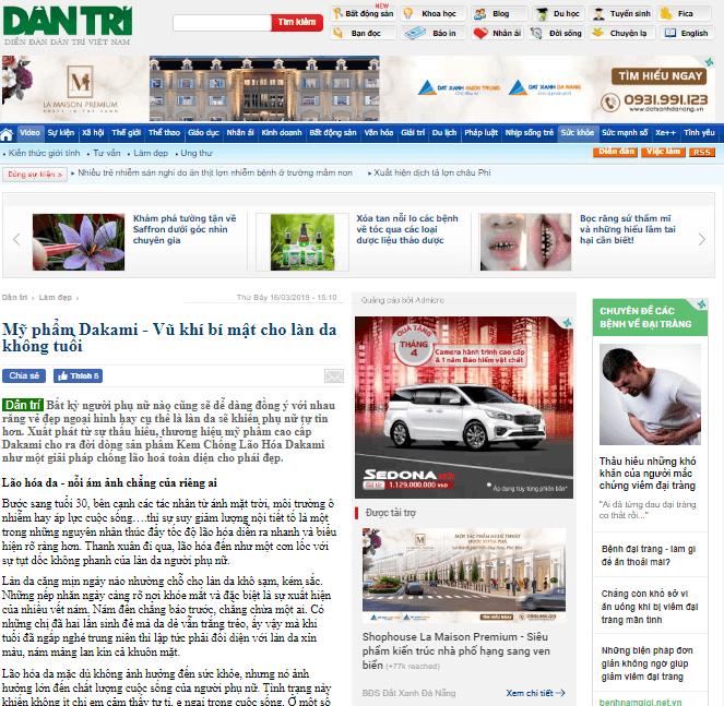 kem dakami trên báo dantri.vn