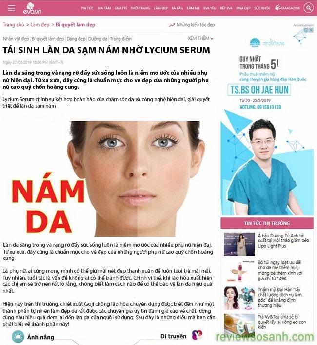 serum chống lão hóa lycium Nhật Bản trên báo chí