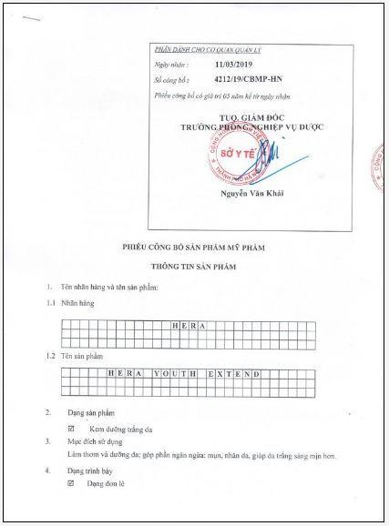 giấy công bố mỹ phẩm kem Hera Youth Extend