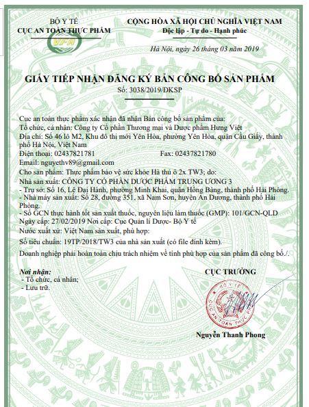 giấy công bố sản phẩm Hà thủ ô Tw3-min