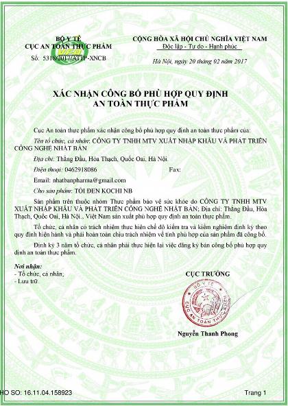 giấy chứng nhận Tỏi đen Kochi-min