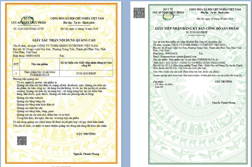 giấy chứng nhận sản phẩm nori kid