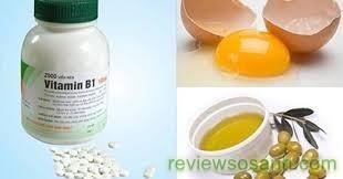 kích thích tóc dài nhanh với vitamin B1, lòng đỏ trứng và dầu oliu