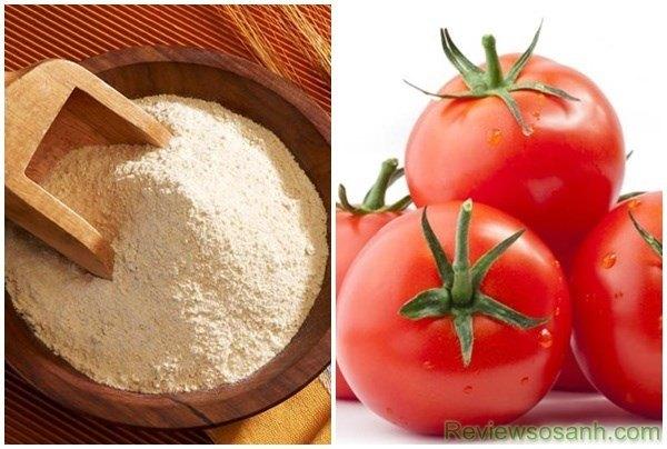 Hỗn hợp cà chua và cám gạo thổi bay các nốt tàn nhang
