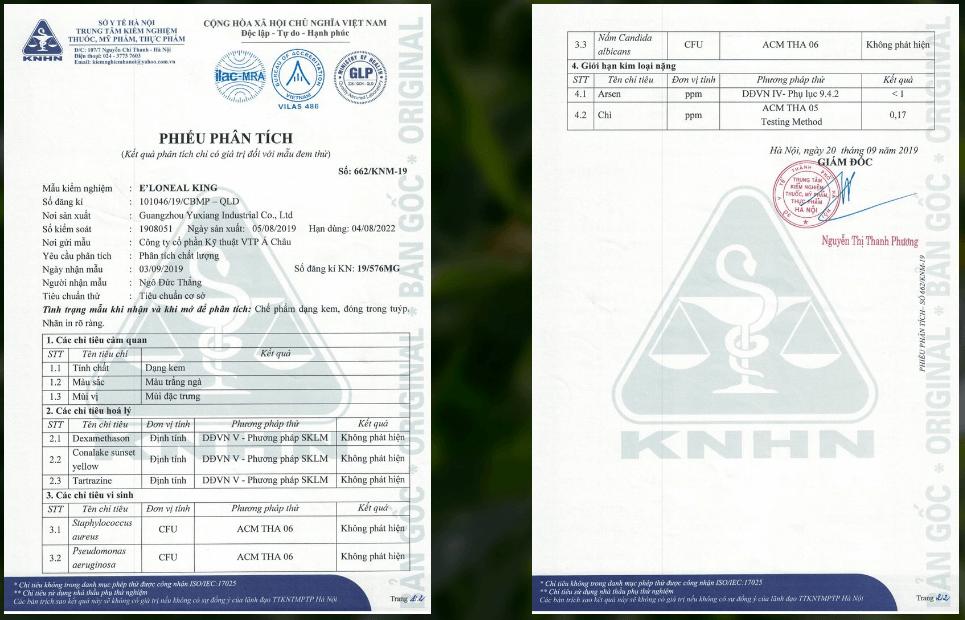 phiểu kiểm nghiệm sản phẩm e'loneal king tại sở y tế Hà nội