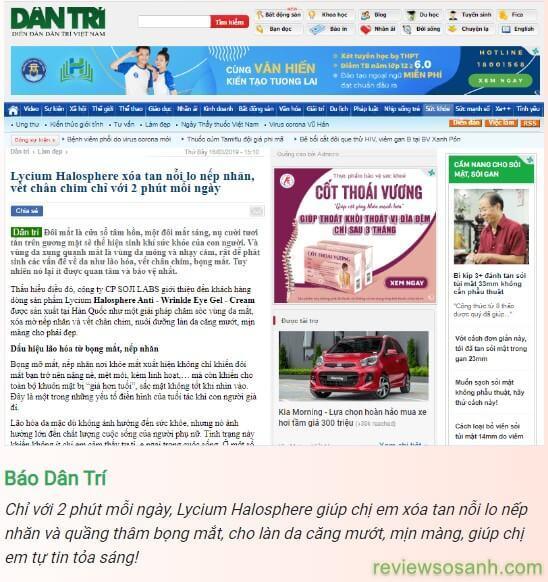 báo dân trí đưa tin về lycium halosphere