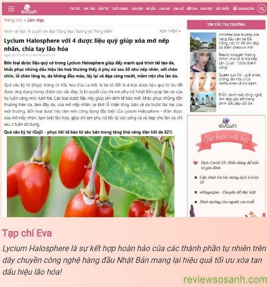 tạp chí eva đưa tin về kem lycium halosphere