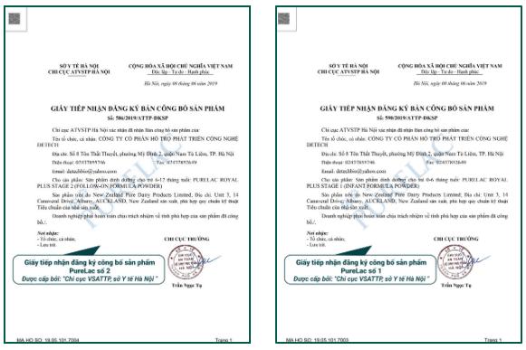 giấy công bố sản phẩm pure lac