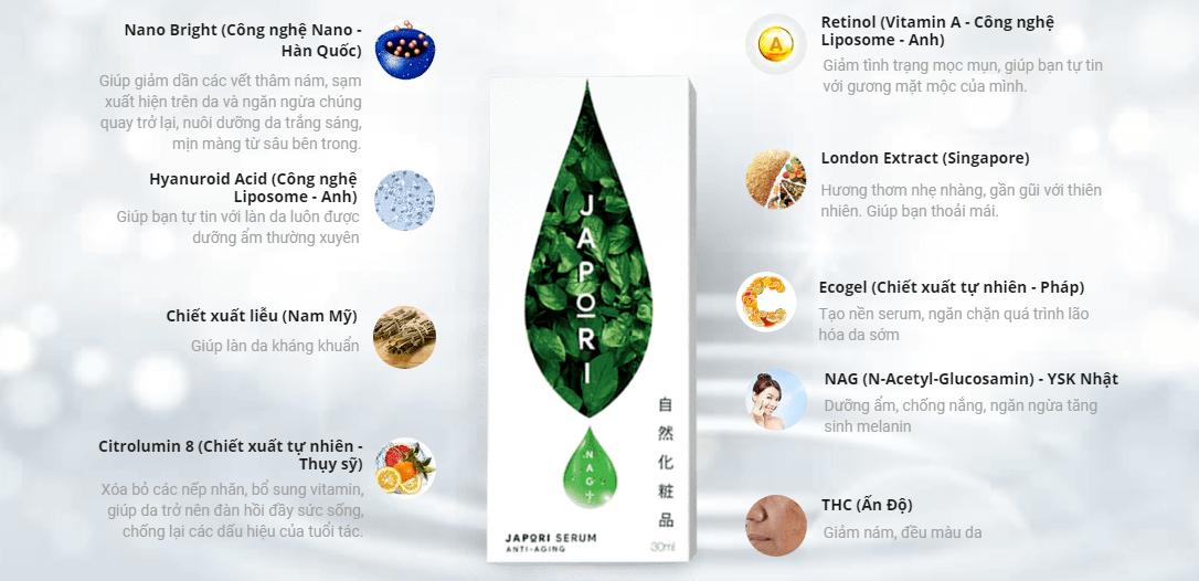 thành phần serum chống lão hóa japori