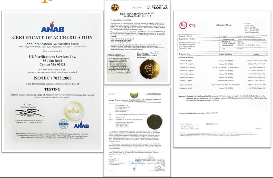 chứng nhận của nhà máy bayshore pharmaceutical