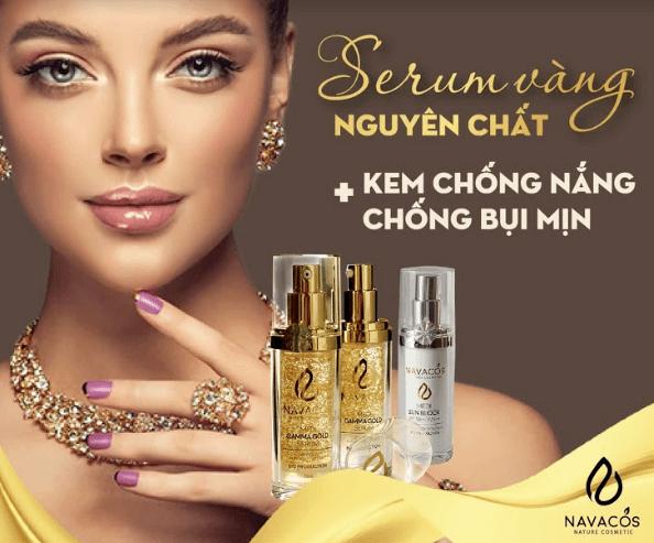combo serum vàng nguyên chất và kem chống nắng bụi mịn