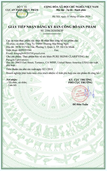 giấy đăng ký công bố sản phẩm viên uống trị mụn murad