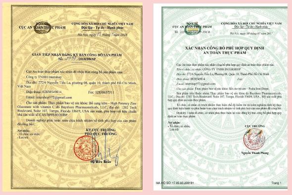 giấy công bố sản phẩm bổ sung viatmin và khoáng chất bprotected