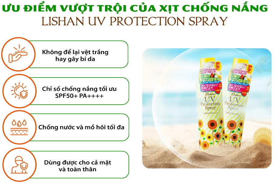 ưu điểm của xịt chống nắng lishan uv protection spray