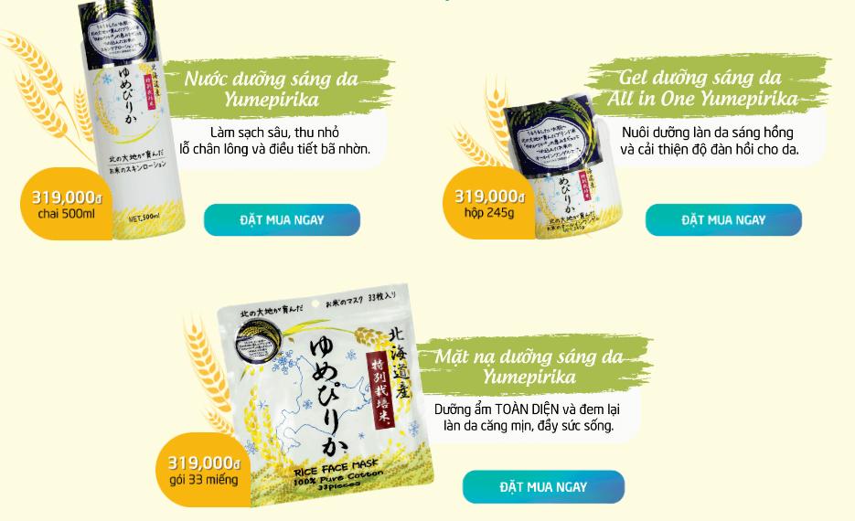 bộ 3 sản phẩm dưỡng da cám gạo yumepirika
