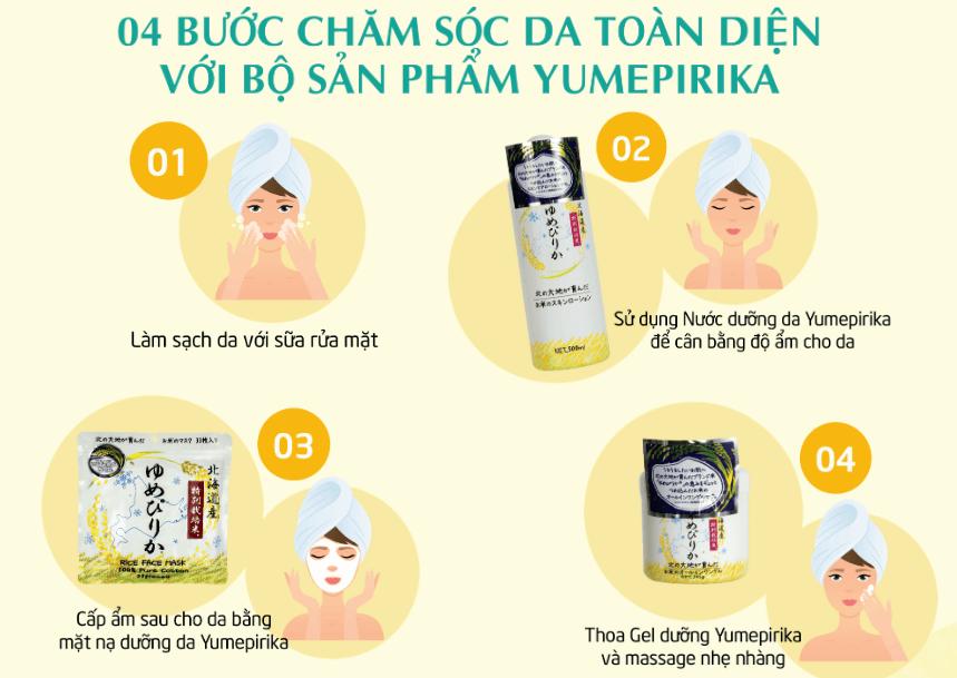 các bước sử dụng dưỡng da cám gạo yumipirika