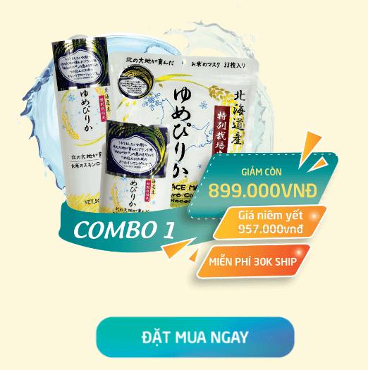 combo sản phẩm dưỡng da cám gao nhật bản yumepirika