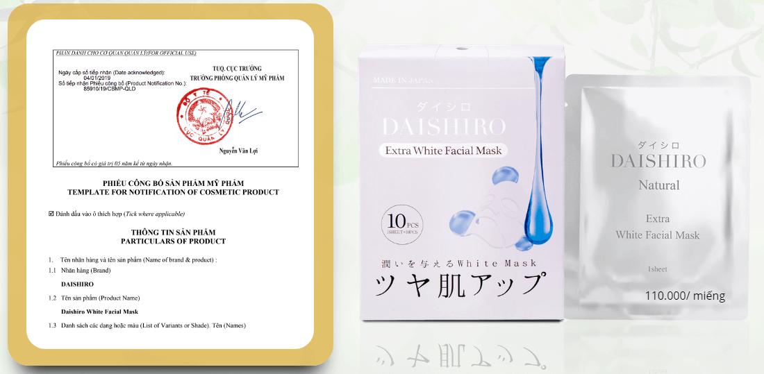 giấy công bố mỹ phẩm của mặt nạ daishiro