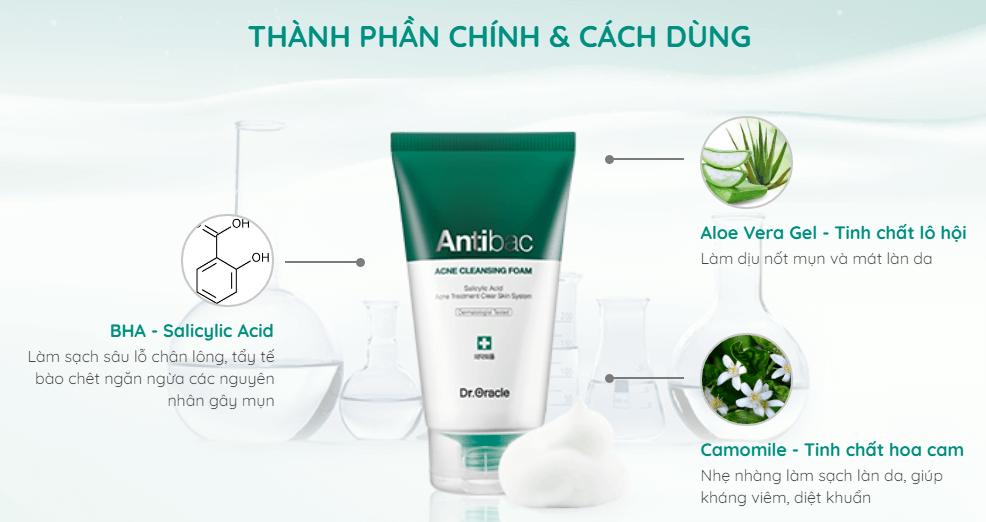 thành phần chính của sữa rửa mặt antibac cho da dầu mụn
