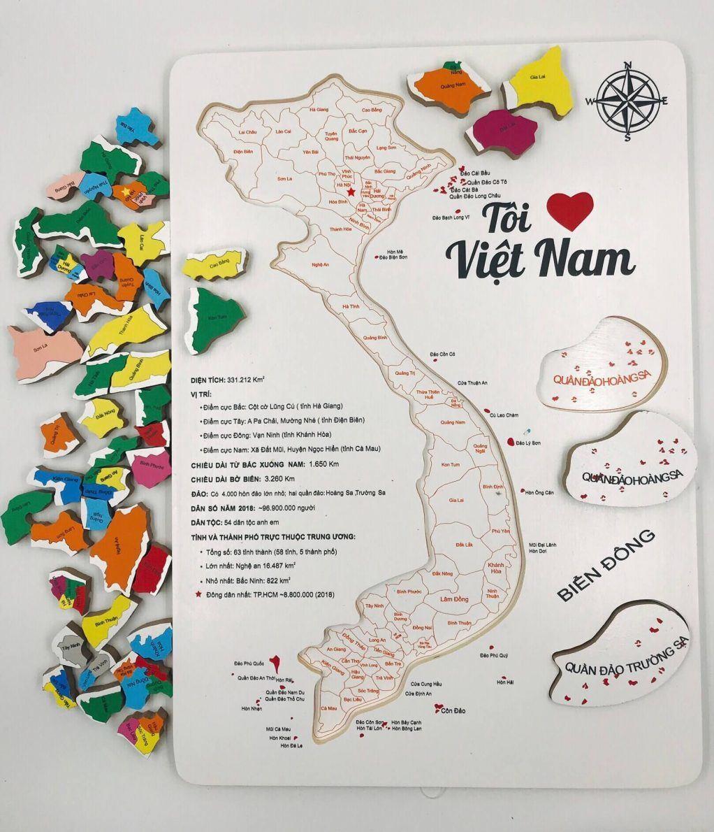 xuất xứ xếp hình bản đồ Việt Nam bằng gỗ