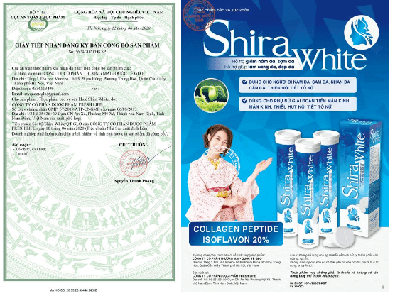giấy công bố sản phẩm shira white