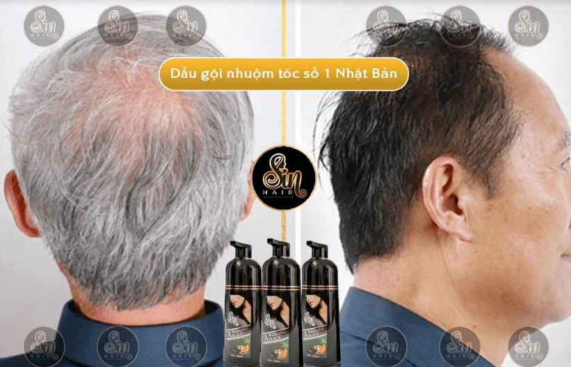 kết quả sử dụng dầu gội đen tóc sin hair