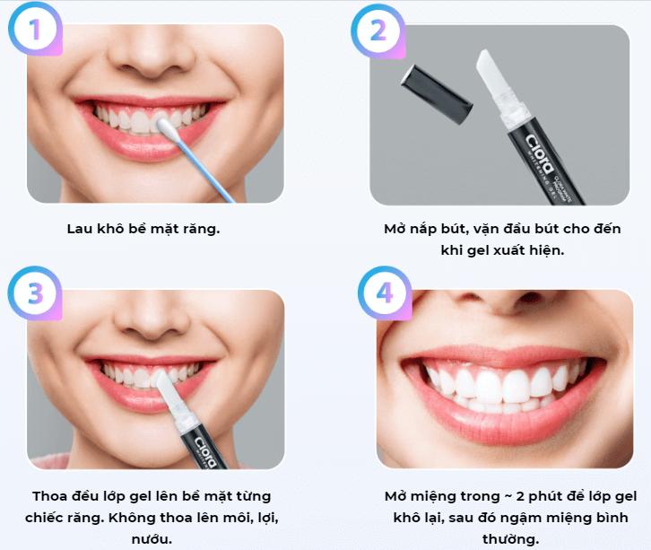 cách dùng bút tẩy trắng răng clora
