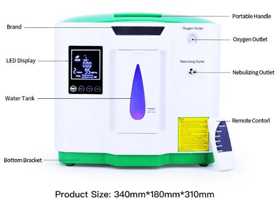 mặt trước máy tạo oxy dedakj de-2aw